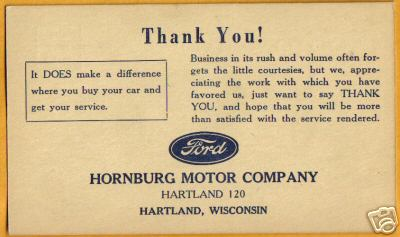 HORNBURG THANK YOU CARD
